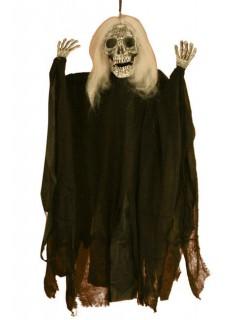 Skelett-Geist Halloween-Hängedeko weiss-schwarz 91cm