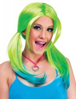 Ombre Cosplay-Perücke mit Zöpfen grün-blau