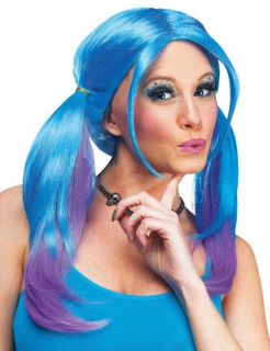Ombre Cosplay-Perücke mit Zöpfen blau-lila