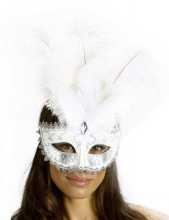 Venezianische Augenmaske mit Federn weiss