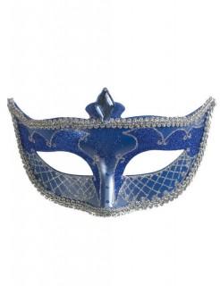 Venezianische Domino-Augenmaske Glitzer blau-silber