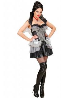 Barock-Vampirkostüm für Damen Halloweenkostüm schwarz-grau