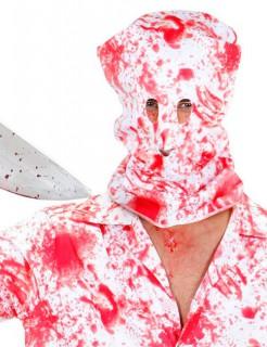 Blutige Horror-Maske Sturmhaube Halloween weiss-rot