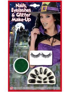 Hexen-Halloween-Make-Up Set schwarz-grün