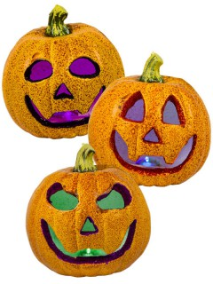 Glitzer-Kürbis mit Farbwechsel Halloween-Deko orange 18x18cm