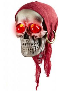 Piraten-Schädel mit Leuchtaugen Halloween-Deko grau-rot 40cm