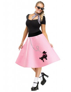 50er Petticoat-Rock mit Pudel rosa
