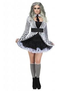 Gothic Geist Halloween Damenkostüm schwarz-weiss