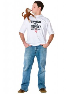 JGA T-Shirt Spank My Monkey Fun T-Shirt weiss