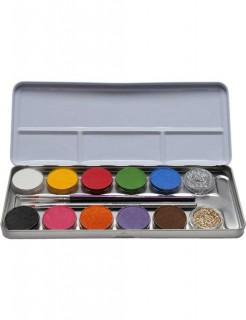 Schmink-Palette mit 12 Farben und Glitzer Make-Up-Set bunt