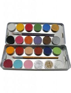 Schmink-Palette mit 24 Farben und Glitzer Make-Up-Set bunt