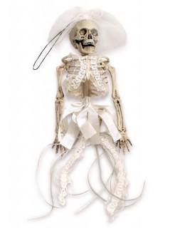 Skelett-Braut Halloween-Hängedeko weiss 40x12cm