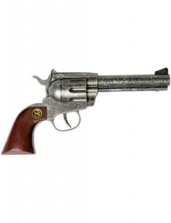 Marshall Antik 100-Schuss Cowboy Pistole mit Holzgriff 22cm braun-silber