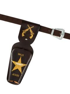 Cowboy Pistolengürtel mit Holster 50-90cm schwarz-braun