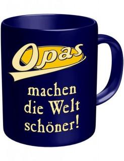 Tasse Opas Kaffeebecher blau-weiss-gelb 330ml