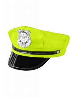 Neon-Polizeimütze gelb-schwarz-silber