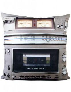 Boombox-Kissen Geschenkidee grau 40x40cm