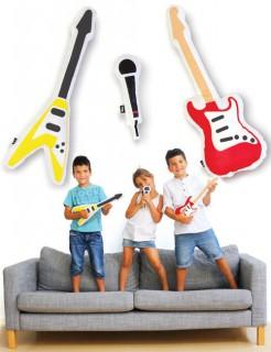 Kissen-Set Rockband Instrumente und Mikrofon 3-teilig bunt