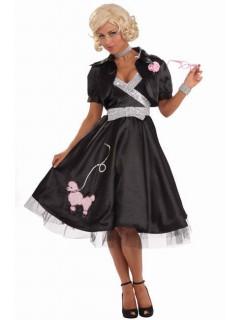 50er Jahre Rockabilly Damenkostüm Pudel schwarz-silber