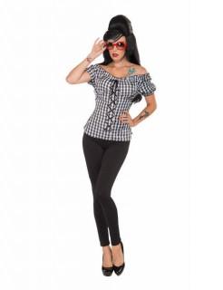 50er Jahre Rockabilly Damenkostüm schwarz-weiss