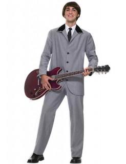 60er Rockstar Kostüm grau-schwarz