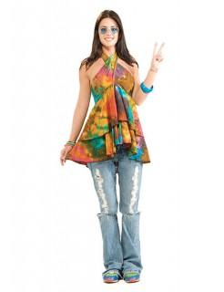 60er 70er Hippie Oberteil Batik bunt
