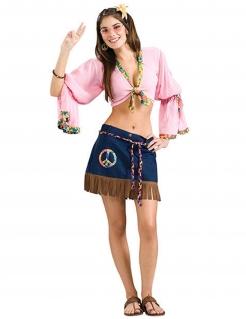 Sexy 60er 70er Damenkostüm Hippie rosa-blau