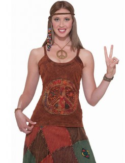 60er 70er Hippie Top Peace braun
