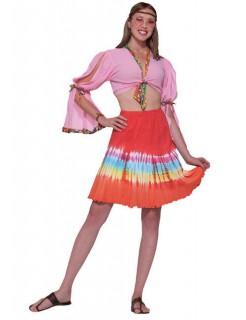 60er 70er Hippie Batik-Rock rot-bunt