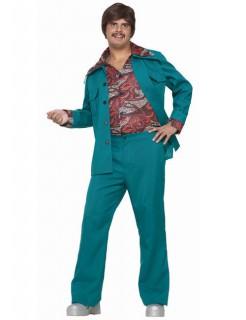 60er 70er Disco Anzug Kostüm türkis-rot