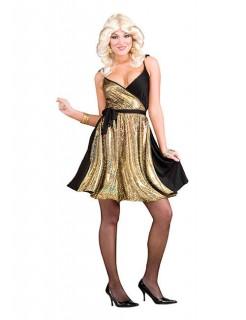 60er 70er Disco-Damenkostüm gold-schwarz