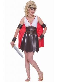 Antike Damenkostüm Gladiatorin weiss-braun
