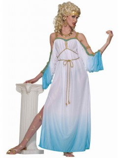 Antike Damenkostüm Göttin weiss-hellblau