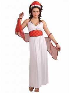 Antike Damenkostüm Römerin weiss-rot