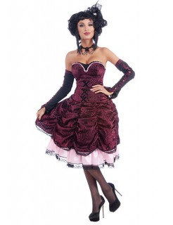 Gothic Showgirl Halloween Damenkostüm dunkelrot-schwarz