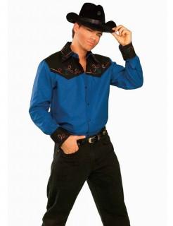 Cowboy Hemd Western blau-schwarz