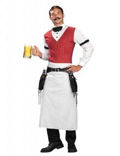 Saloon Barkeeper Kostüm Western weiss-rot