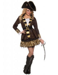 Piraten Kapitänin Damenkostüm braun-gold
