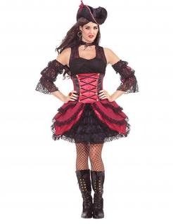 Burlesque Piratin Damenkostüm rot-schwarz
