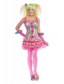 Süsse Clown-Frau Damenkostüm pink-bunt