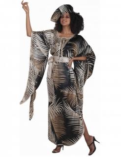 Exotisches Sommerkleid mit Hut Palmen-Motiv schwarz-weiss-braun