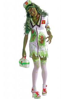 Zombie Krankenschwester Halloween Damenkostüm grün-weiss