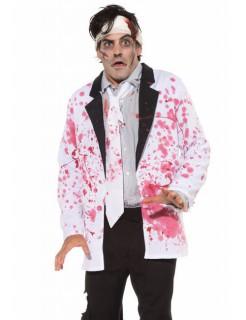 Blutiges Halloween-Jackett weiss-rot-schwarz