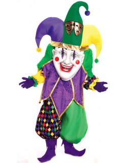 Hofnarr Clown mit Riesenmaske Kostüm bunt