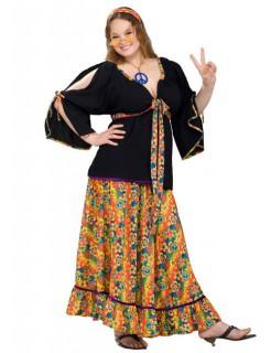 60er 70er Hippie Damenkostüm XL schwarz-bunt