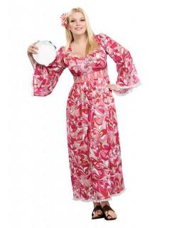 60er 70er Hippie-Kleid Damenkostüm XL pink-weiss