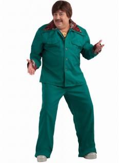 60er 70er Disco Anzug Kostüm XL dunkelgrün