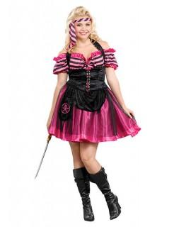 Sexy Piratin XL Damenkostüm pink-schwarz