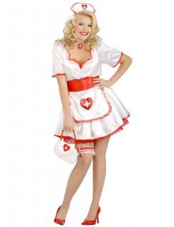 Sexy Krankenschwester XL Damenkostüm weiss-rot