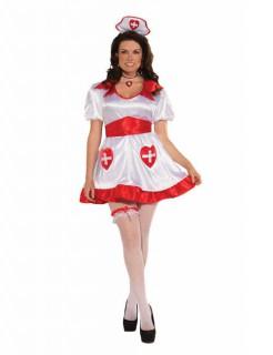Süsse Krankenschwester XL Damenkostüm weiss-rot